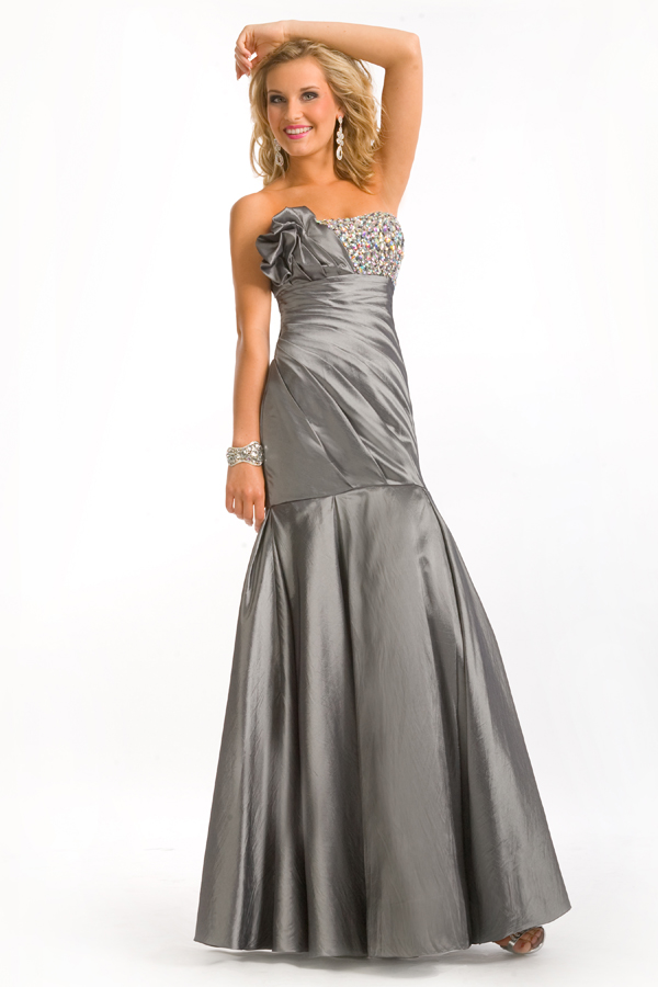 Grey Floor Length Strapless Sweetheart Mermaid Sexy Dresses With Beads And Ruches