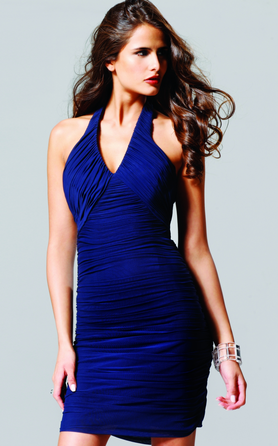Royal Blue Short Mini Halter Low Back Column Sexy Dresses With Tiny Ruches