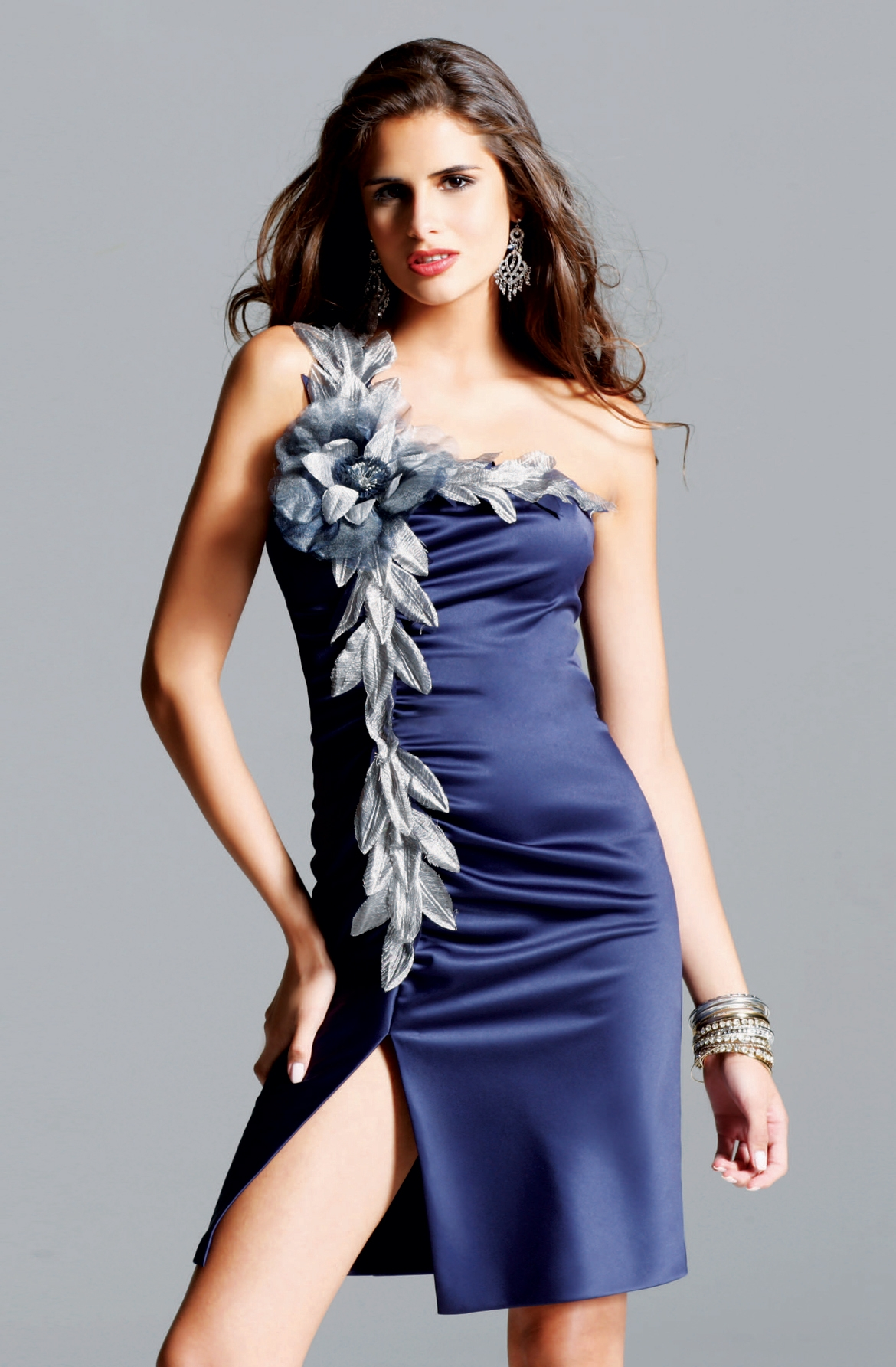 Violet One Shoulder High Slit Knee Length Column Sexy Dresses With Silver Flowers And Leaves