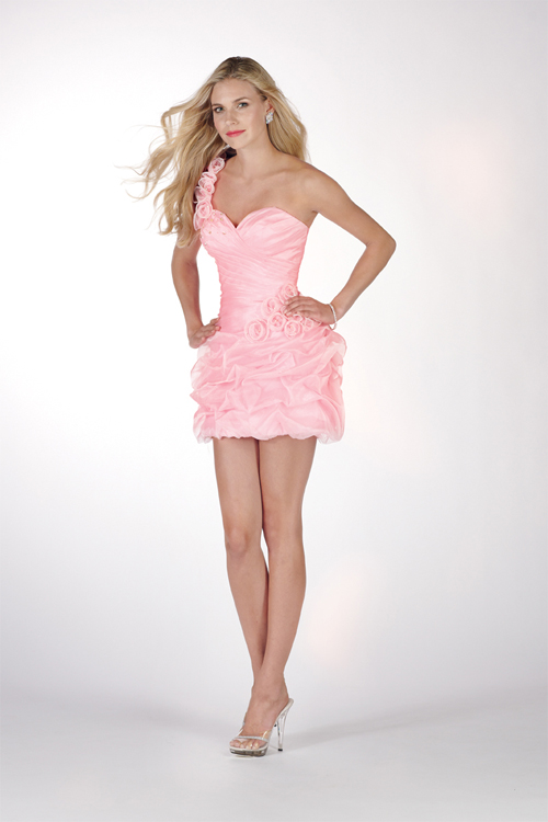 Pink One Shoulder Zipper Short Mini A Line Sexy Dresses With Rosettes And Ruches