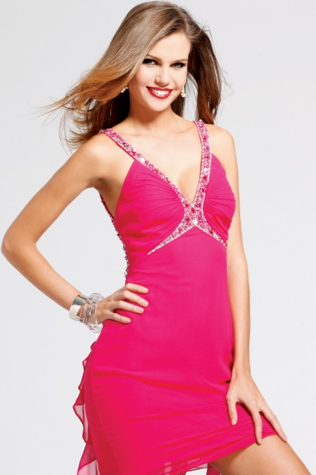 Hot Pink Beading Strap And V Neck Open Back Short Mini Column Sexy Dresses