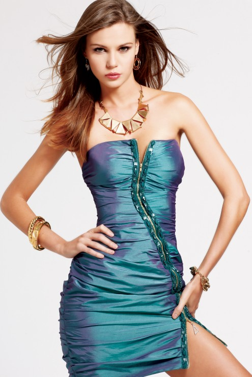 Green Column Strapless Low Back Short Mini Sexy Dresses With Full Zipper