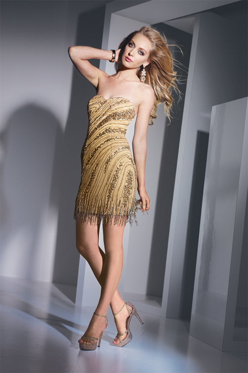 Gold Sweetheart Strapless Column Short Mini Sexy Dresses With Sequined Tassels