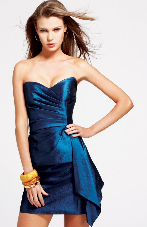 Peacock Blue Column Strapless Sweetheart Short Mini Sexy Dresses With Ruches