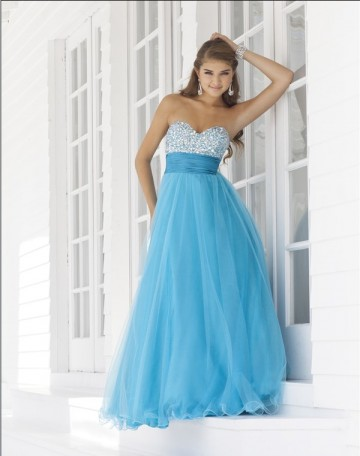 Turquoise A Line Sweetheart Strapless Floor Length Pleated Tulle Prom Dresses With Beads