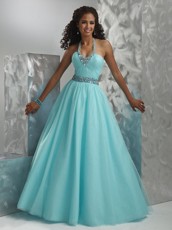 Aqua A Line Halter And V Neck Bandage Floor Length Organza Prom Dresses With Jewel And Pleats