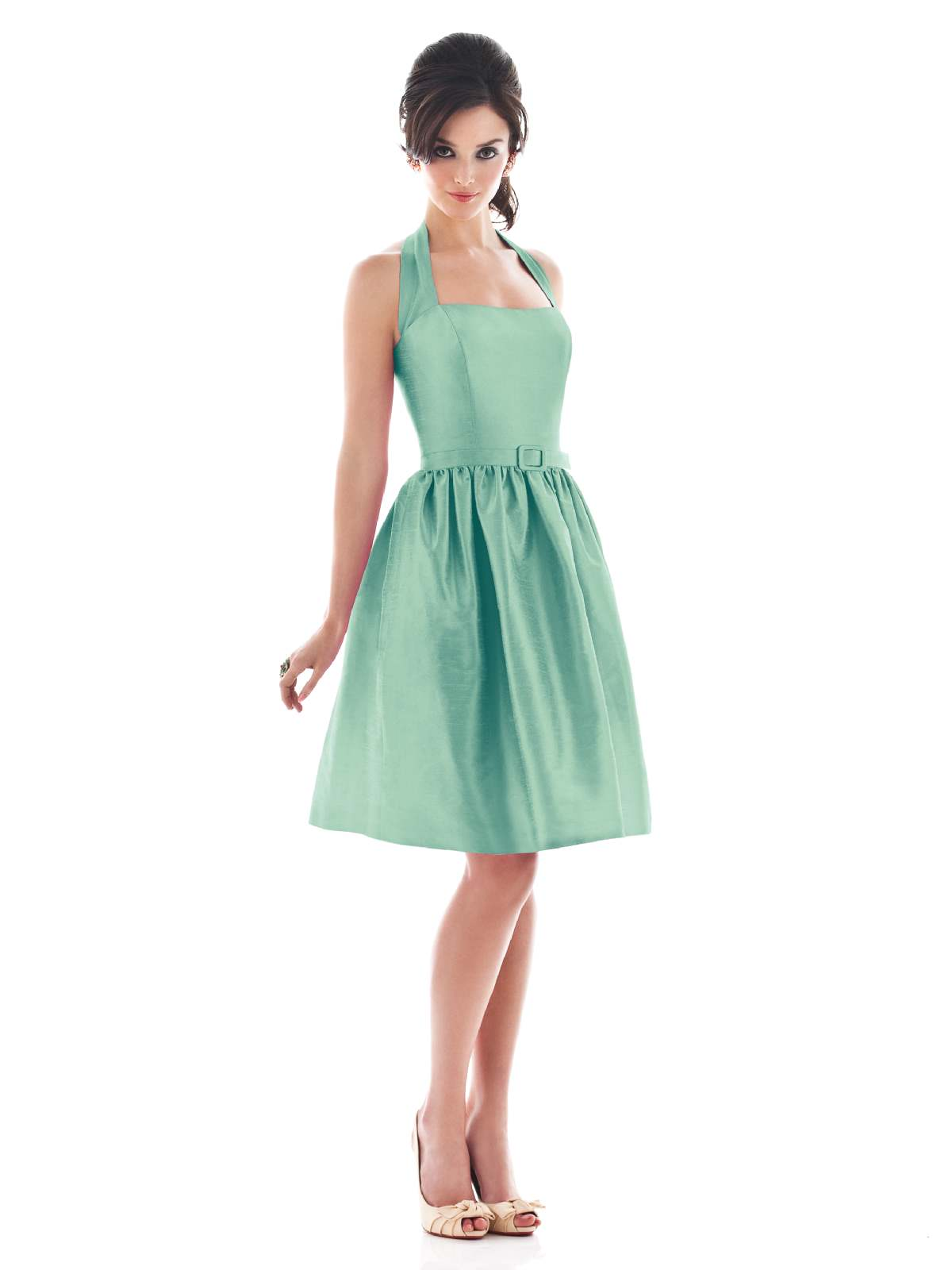A Line Halter Low Back Knee Length Aqua Prom Dresses With Belt And Draped Skirt