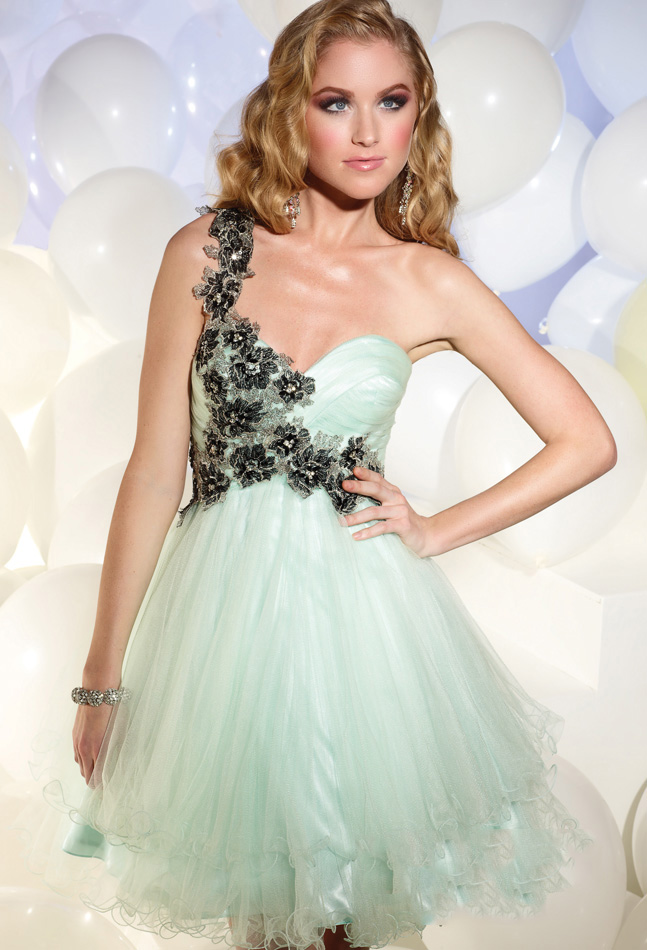 Aqua A Line One Shoulder Zipper Short Mini Tulle Cocktail Dresses With Embroidery