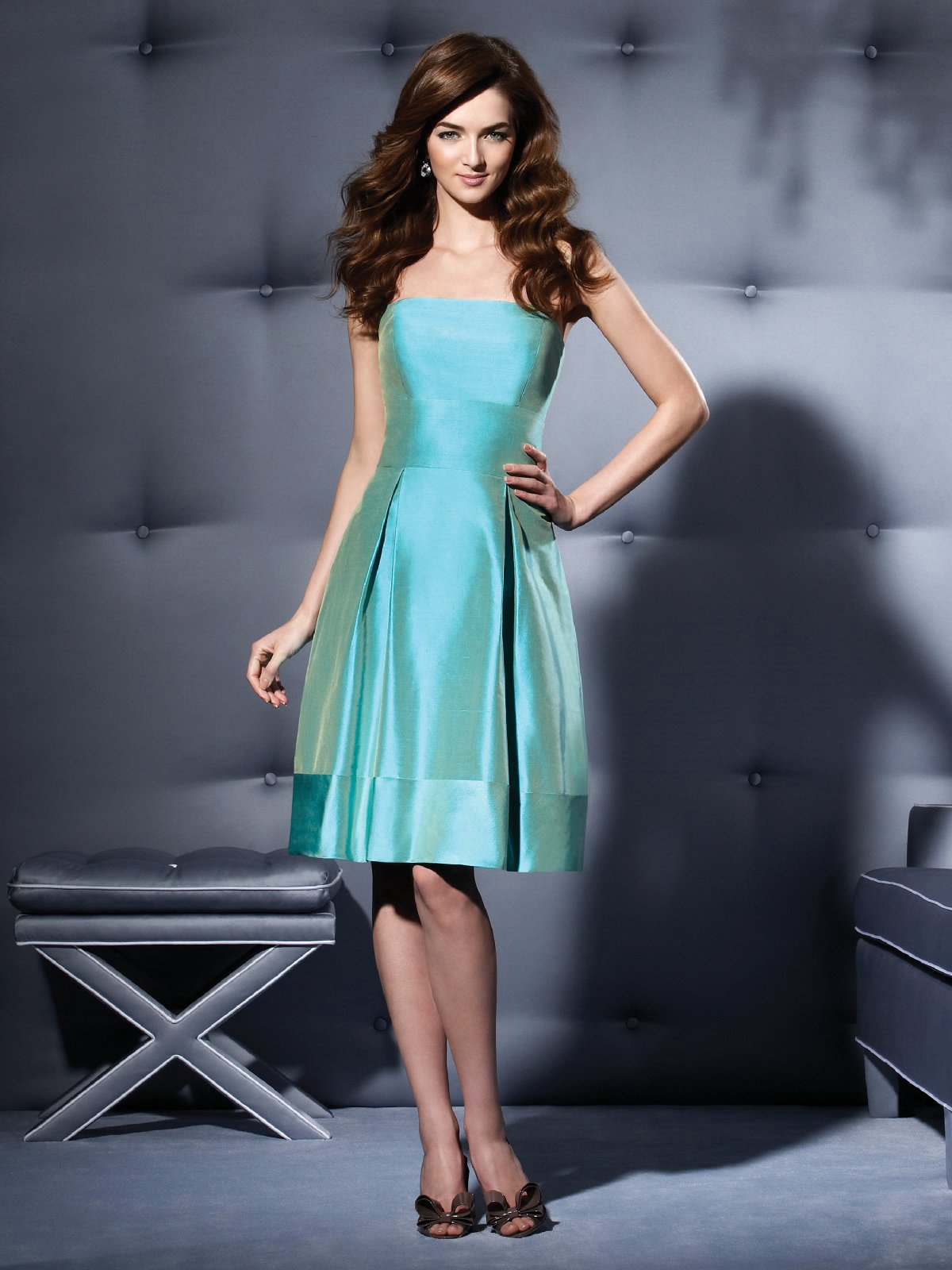Hot Sale Aqua A Line Strapless Zipper Knee Length Satin Prom Dresses