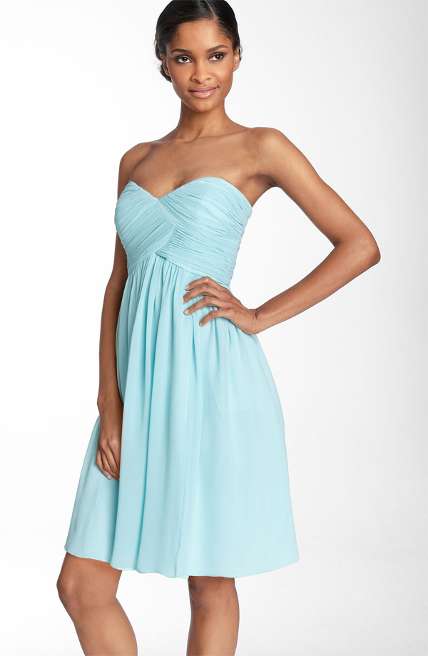 Aqua A Line Strapless Sweetheart Zipper Ruches Knee Length Prom Dresses