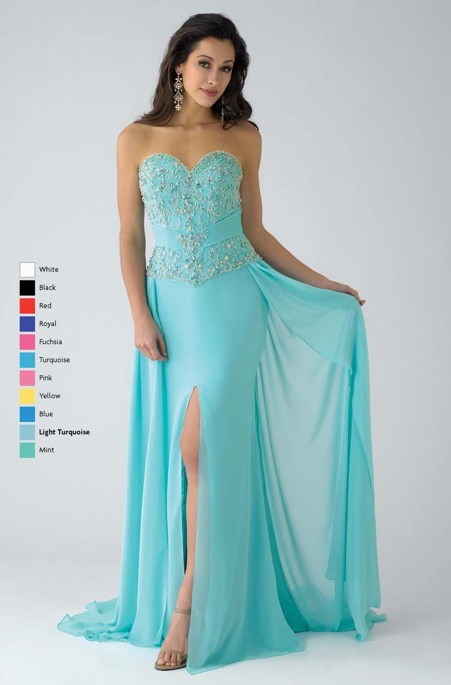 Aqua Column Strapless Sweetheart Low Back Sweep Train Full Length Chiffon Prom Dresses With Beading And Side Slit