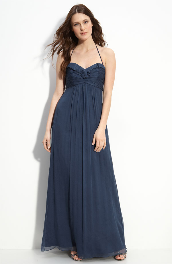 Dark Navy A Line Halter And Spaghetti Straps Zipper Pleats Ankle Length Chiffon Prom Dresses