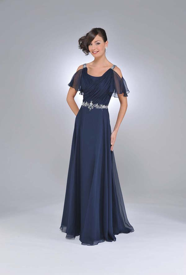 Dark Navy A Line Square Neckline And Short Sleeve V Back Ruffles Floor Length Chiffon Prom Dresses With Beading And Ruffles