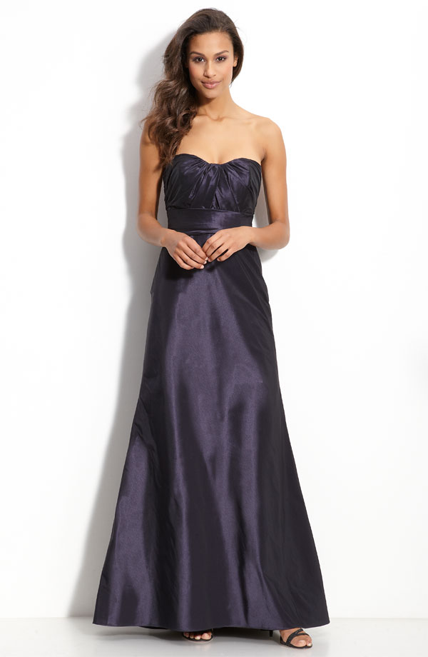 Black A Line Strapless Sweetheart Zipper Ankle Length Ruffled Satin Prom Dresses