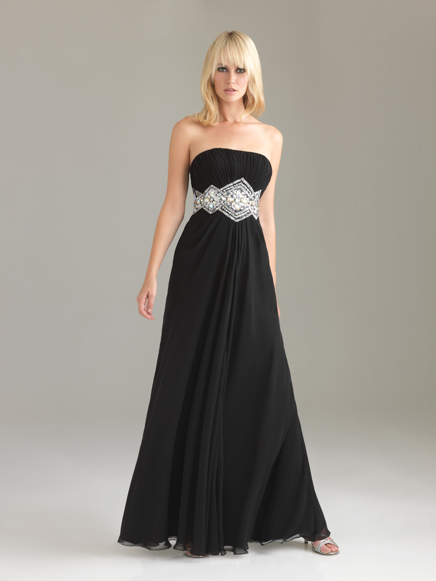 Black A Line Strapless Floor Length Chiffon Graduation Dresses With Beading Belt