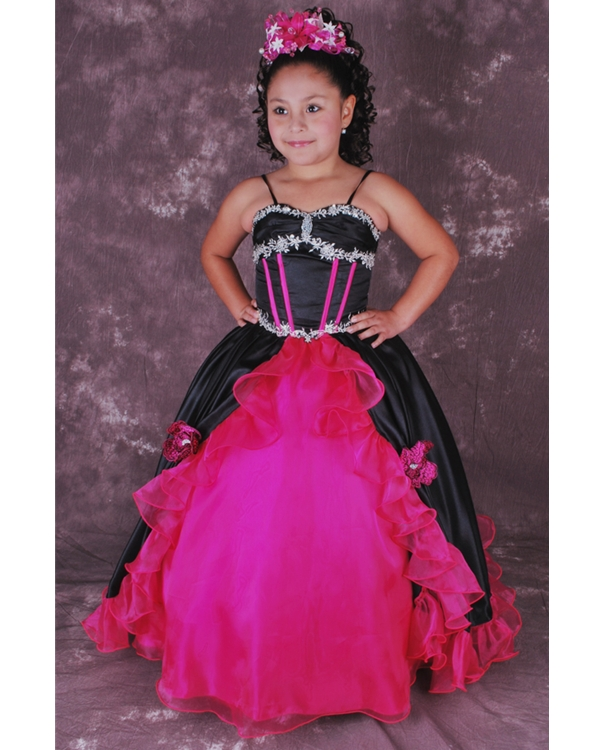 Black And Fuchsia Spaghetti Straps Lace Up Ball Gown Floor Length Flower Girl Dresses With Ruffles