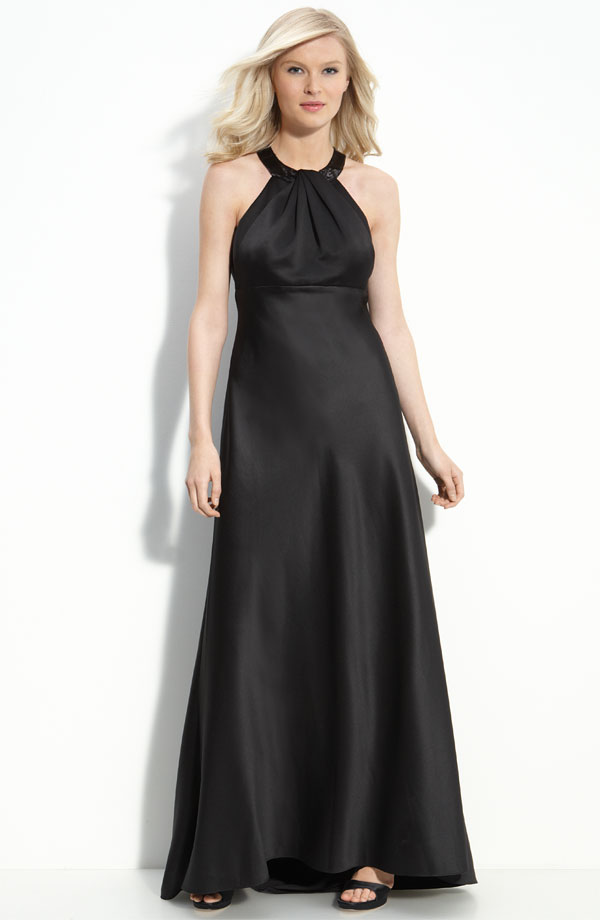 Elegant Black Column Halter Floor Length Zipper Satin Bridesmaid Dresses