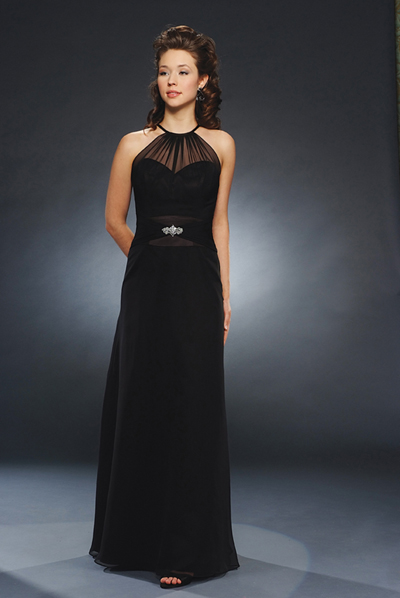 Black Column Jewel And Spagetti Straps Low Back Floor Length Chiffon Prom Dresses With Beading