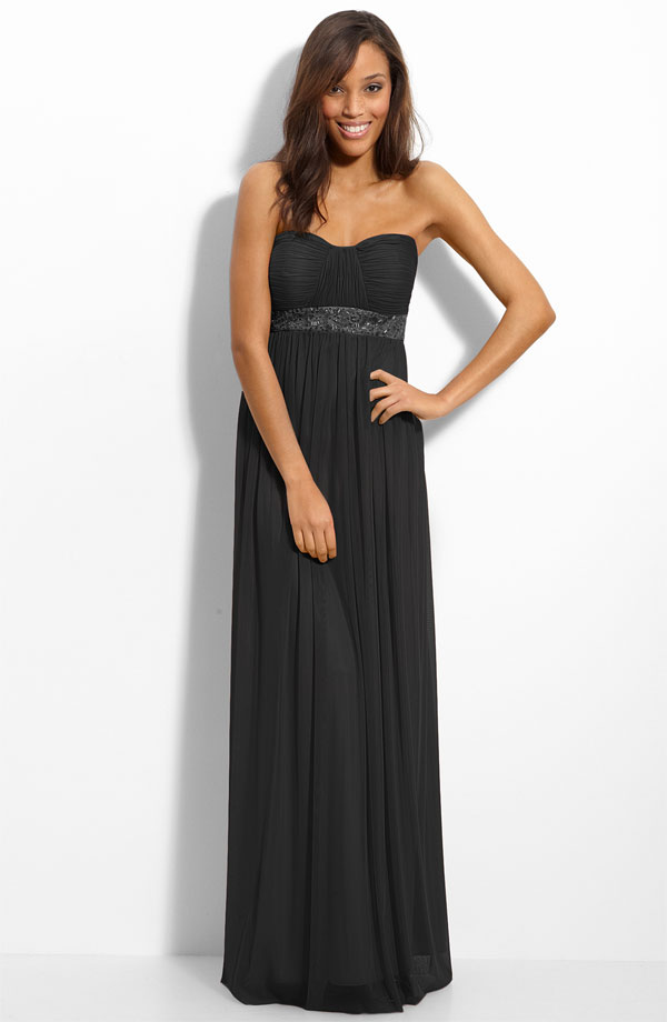 Black Column Strapless Sweetheart Zipper Floor Length Chiffon Prom Dresses With Sequined Waist
