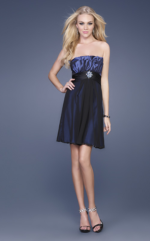 Dark Navy Column Strapless Drapes Short Mini Cocktail Dresses With Beadings