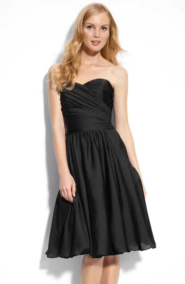 Black A Line Sweetheart Knee Length Zipper Ruffled Chiffon Bridesmaid Dresses