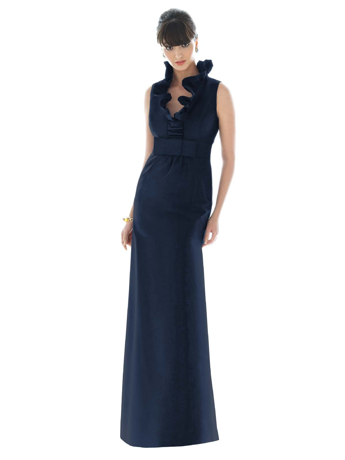 Dark Navy Column Flounced V Neck And Sleeveless Slit And Zipper Floor Length Prom Dresses