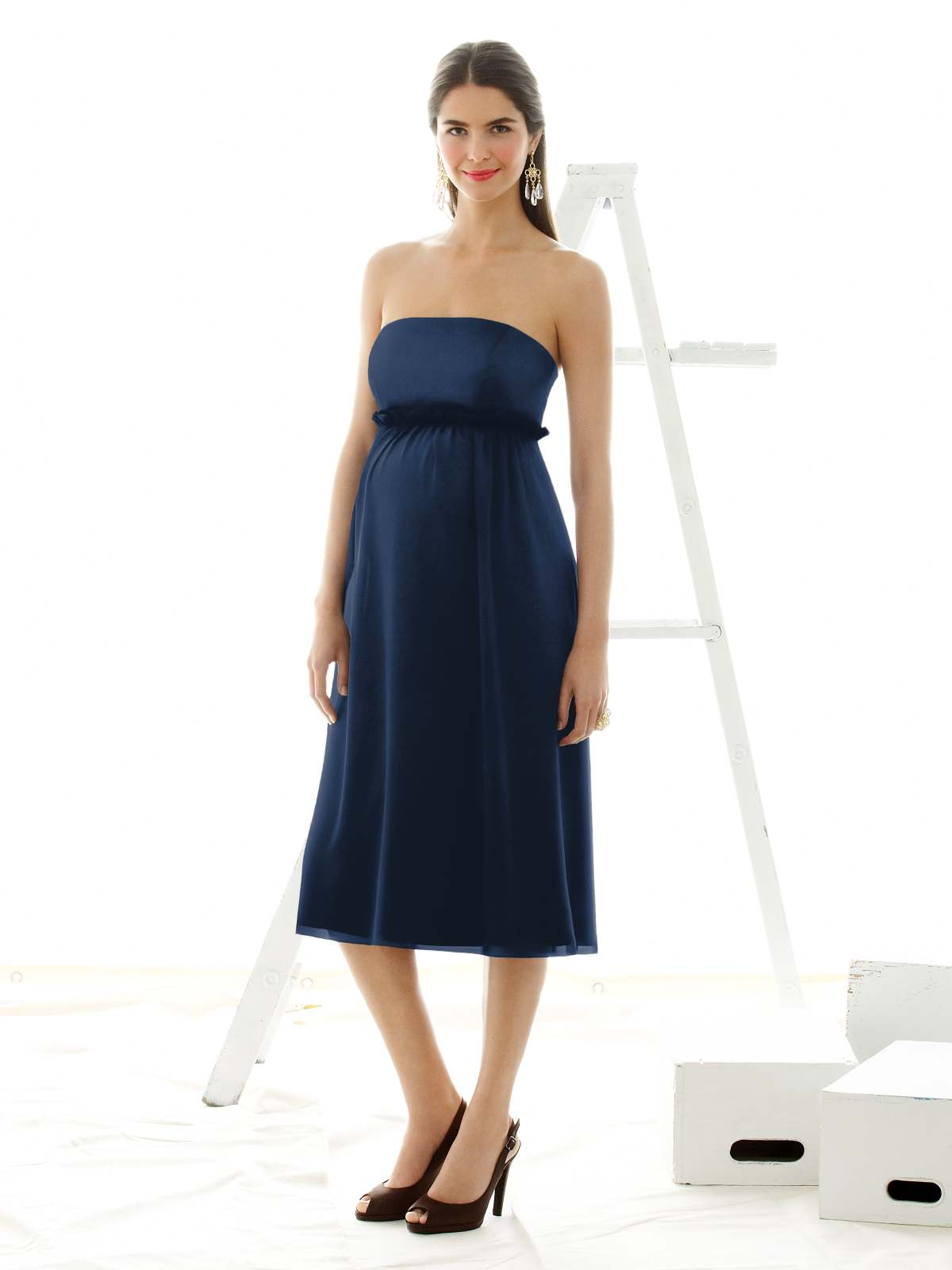 Navy Empire Strapless Zipper Tea Length Chiffon Prom Dresses With Sash