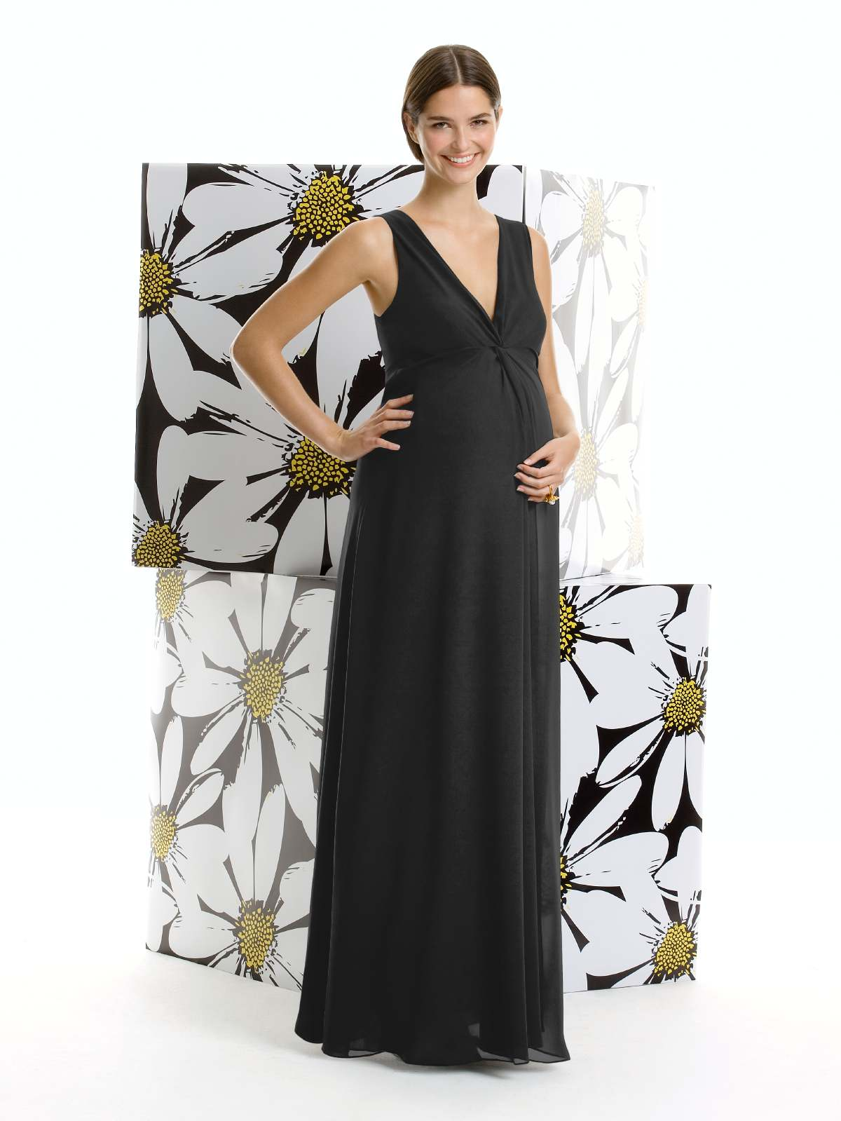 Black Empire V Neck And Sleeveless Floor Length Chiffon Prom Dresses