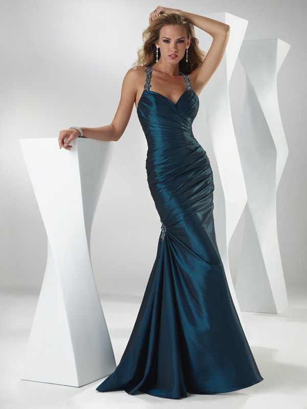 Dark Navy Mermaid Halter Sweetheart Open Back Full Length Evening Dresses With Beading And Drapes