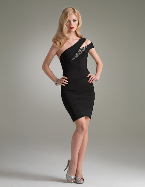 Black Sheath Asymmetrical One Shoulder Mini Cocktail Dresses With Beads