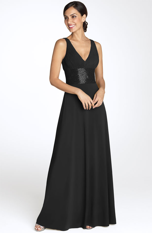 Black Sheath V Neck Zipper Floor Length Bridesmaid Dresses With Sequined Belt
