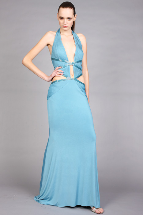 Aqua A Line Halter Deep V Neck Backless Floor Length Chiffon Evening Dresses With Belt