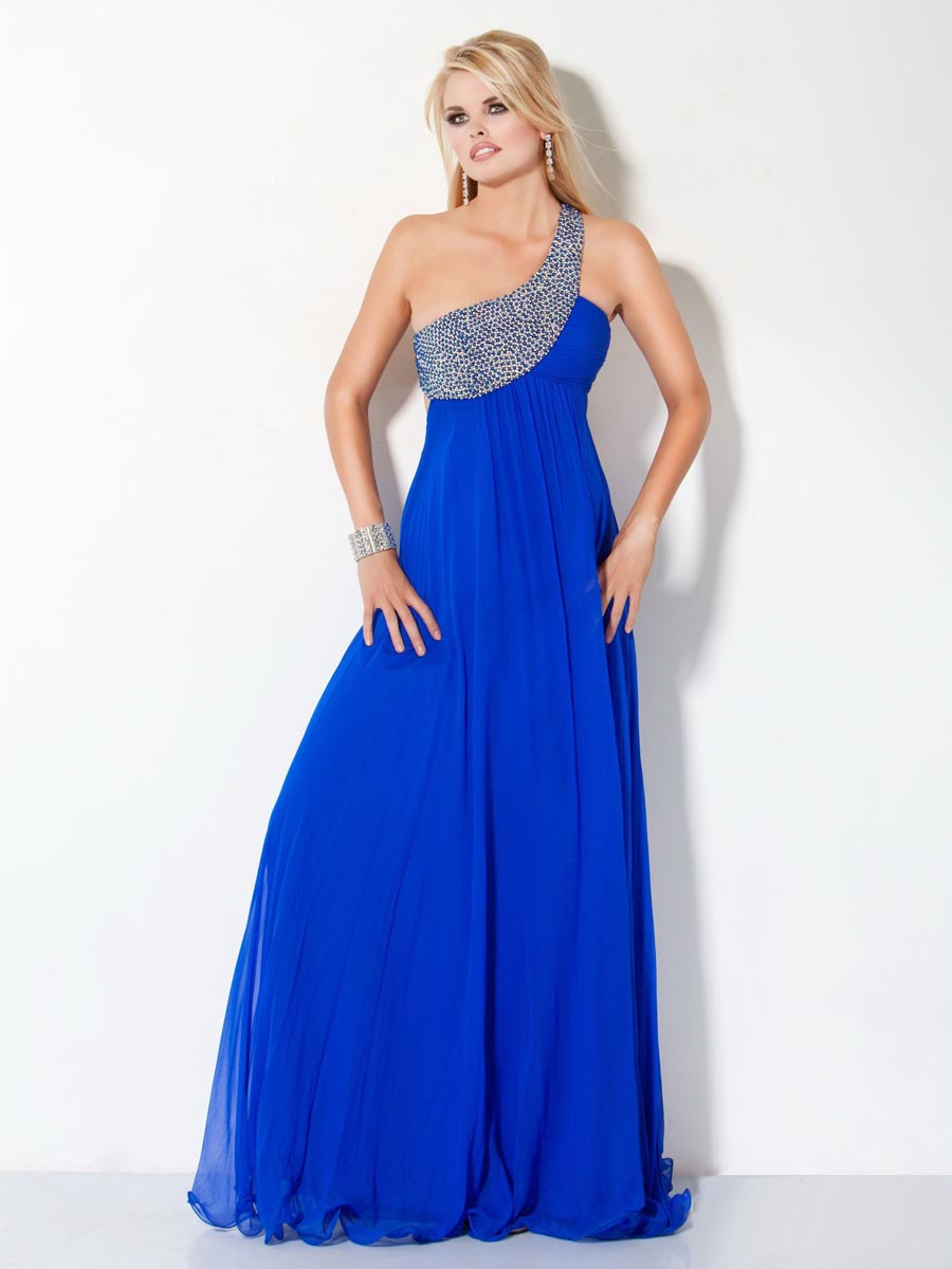 Royal Blue A Line One Shoulder Open Back Floor Length Celebrity Dresses With Sequins