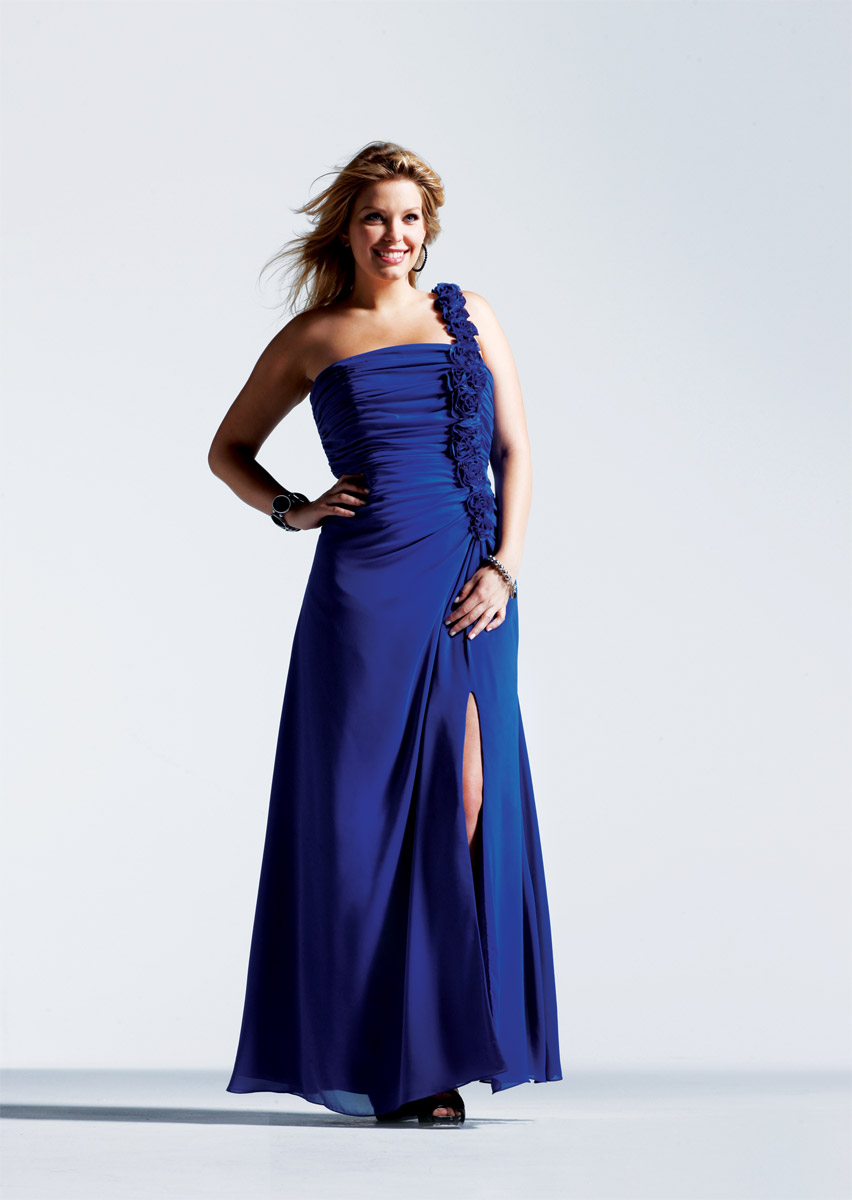 Royal Blue A Line One Shoulder Zipper Full Length Evening Dresses With Rosettes And Side Slit