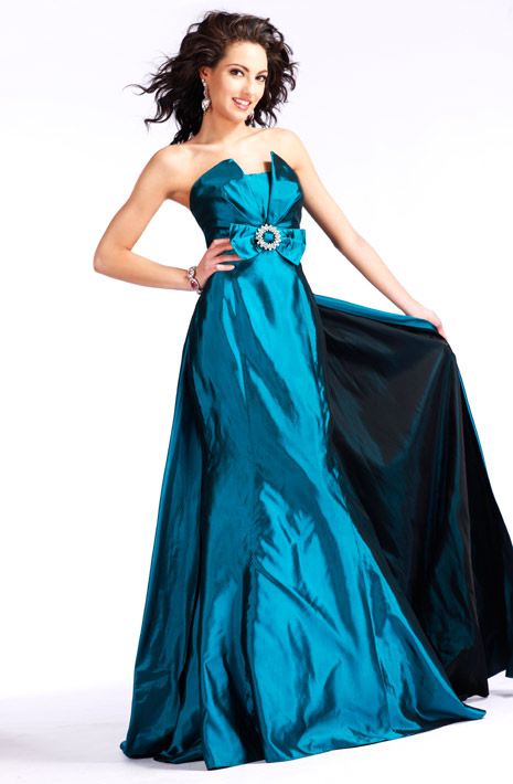 Strapless Zipper Sweep Train Teal A Line Floor Length Evening Dresses With Bowknot