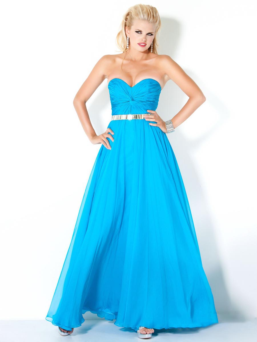 Turquoise A Line Strapless Sweetheart Zipper Ankle Length Chiffon Evening Dresses With Sequins And Ruffles