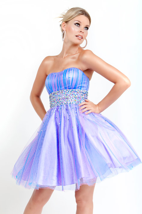 Blue And Lavender A Line Strapless Zipper Beading Tulle Short Mini Cocktail Dresses