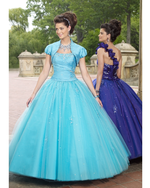 Sky Blue Ball Gown One Shoulder Lace Up Floor Length Sequined Organza Quinceanera Dresses