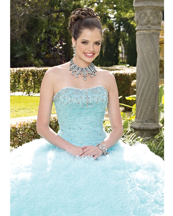 Sky Blue Ball Gown Strapless Lace Up Full Length Quinceanera Dresses With Beadings And Ruffles