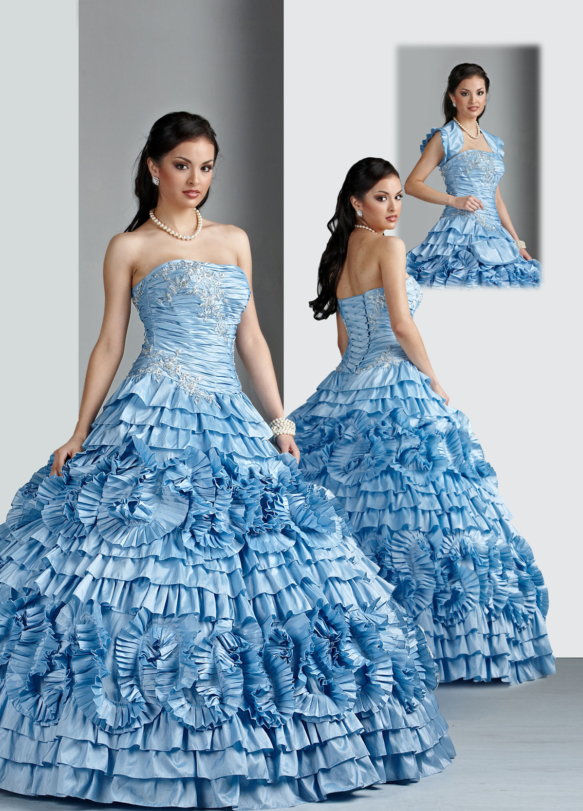 Blue Ball Gown Strapless Lace Up Floor Length Ruffled Quinceanera Dresses With Appliques