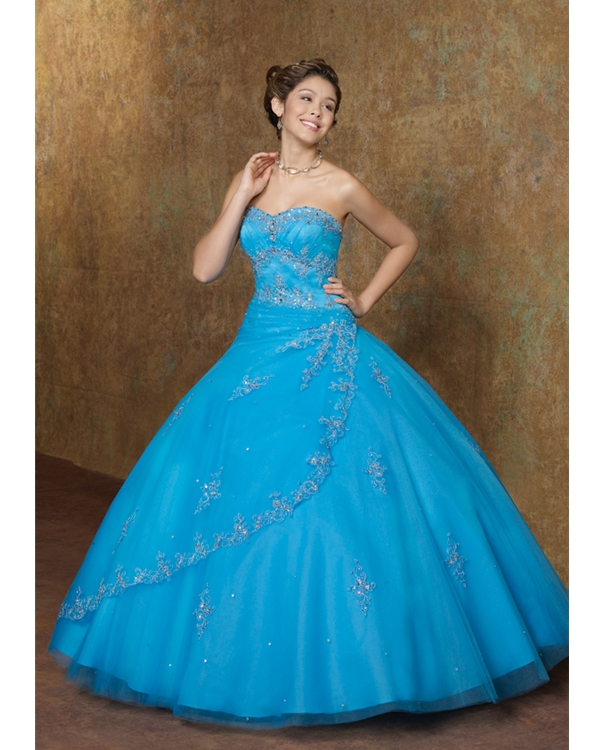60fa2adfe7 Turquoise Ball Gown Strapless Sweetheart Lace Up Floor Length Beaded  Embroidered Quinceanera Dresses