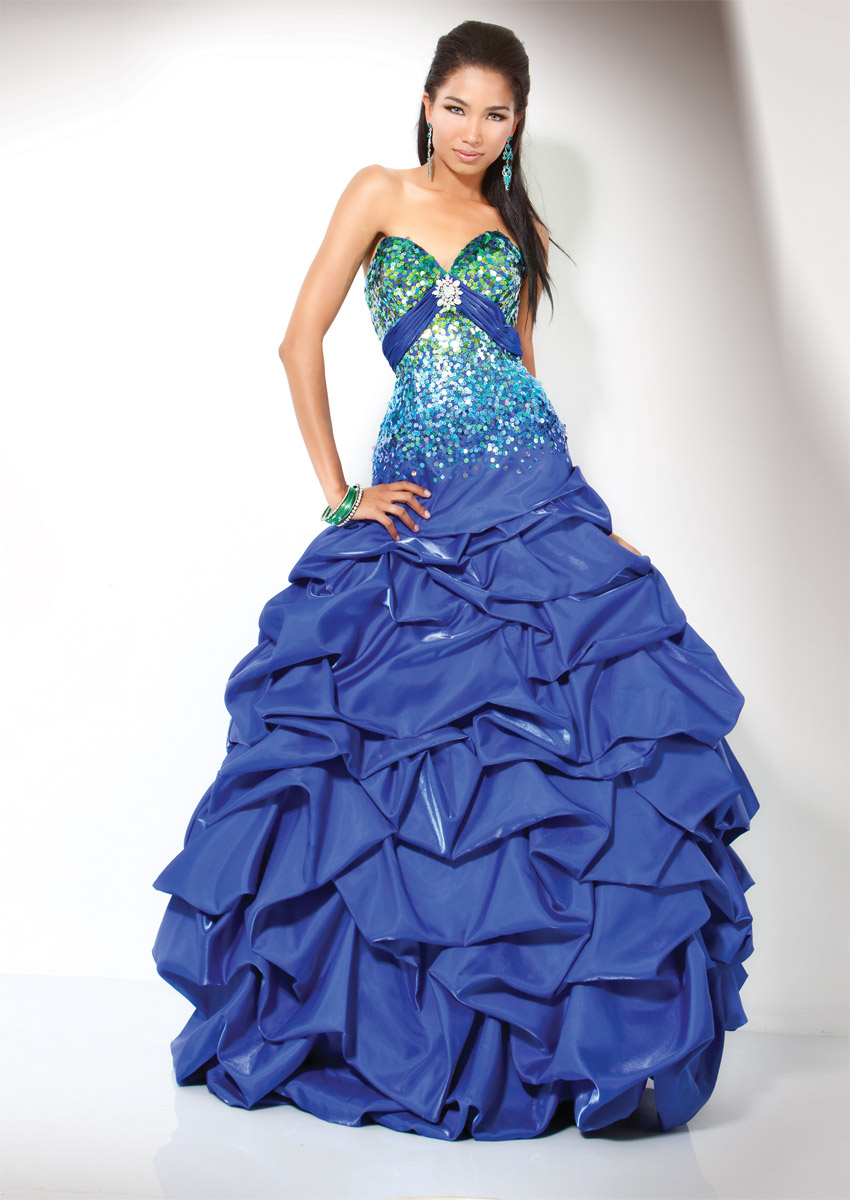 Blue Ball Gown Sweetheart Full Length Zipper Prom Dresses With Sequines And Ruffles