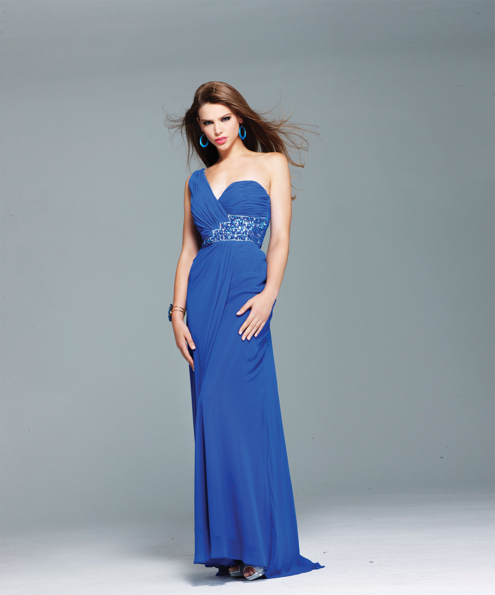 Royal Blue Column One Shoulder Low Back Sweep Train Beaded Ankle Length Chiffon Evening Dresses
