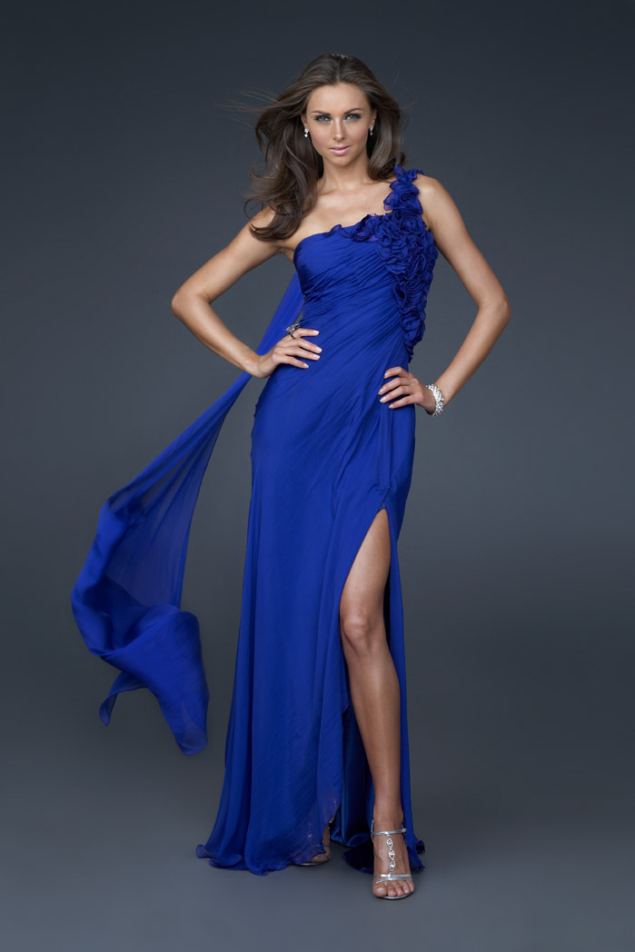 Royal Blue Column One Shoulder Open Back Sweep Train Full Length Evening Dresses With Rosettes And Side Slit