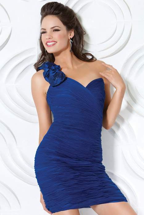 Royal Blue Column One Shoulder And Sweetheart Zipper Pleated Short Mini Cocktail Dresses