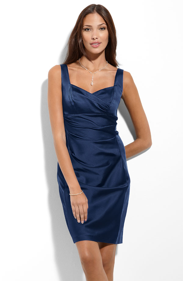 Navy Blue Column Square Knee Length Zipper Ruched Satin Bridesmaid Dresses
