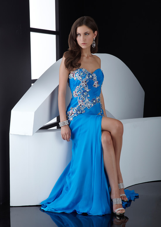 Blue Column Strapless Sweetheart Zipper Sweep Train Floor Length Chiffon Evening Dresses With Embroidery And High Slit