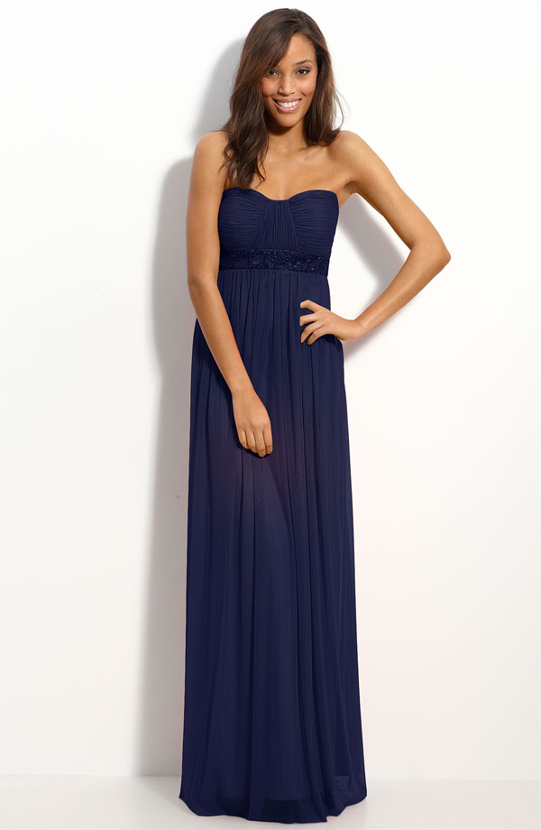 Navy Blue Column Strapless Sweetheart Full Length Zipper Pleated Chiffon Bridesmaid Dresses