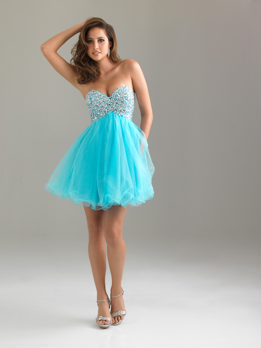 Blue Empire A Line Sweetheart Mini Length Tulle Cocktail Dresses With Beads