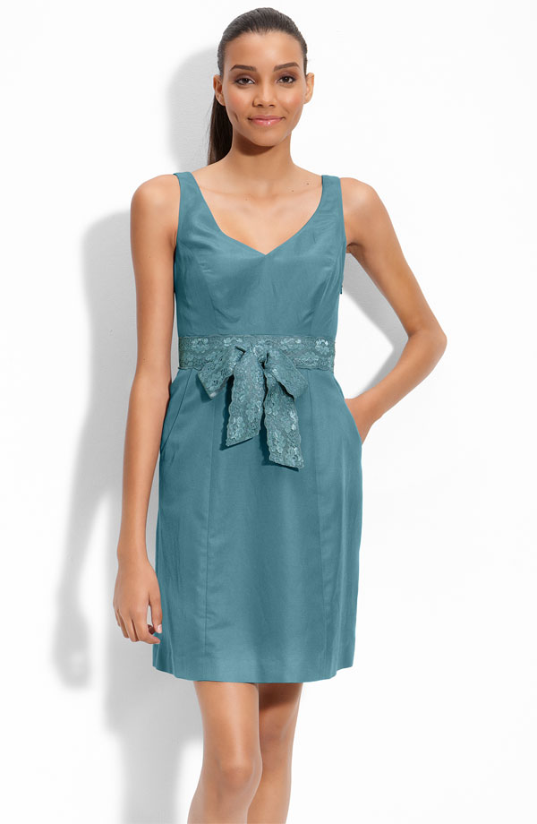 Teal Column V Neck And Sleeveless Short Mini Prom Dresses With Lace Sash